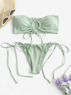 ZAFUL Gebundener Schlüsselloch Bandeau Bikini Badebekleidung Mit Seitlichem Bindeband - Hellgrün S