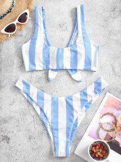 ZAFUL Knot Striped Bikini Set - Light Sky Blue S