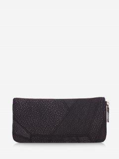 Retro Textured Zipper Clutch Bag - Black