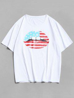 ZAFUL American Flag Lip Print Basic T-shirt - White 2xl