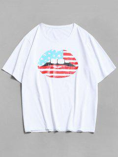 ZAFUL American Flag Lip Print Basic T-shirt - White Xl