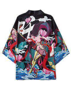Cartoon Graphic Print Open Front Kimono Cardigan - Black Xl