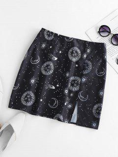 ZAFUL Sun Moon Star Print Slit Mini Skirt - Black M