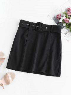 ZAFUL Belted Mini A Line Skirt - Black M
