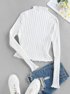 ZAFUL Lettuce Trim Ribbed Knit T Shirt - White M