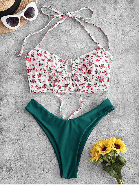 best ZAFUL Ribbed Ditsy Print Halter High Leg Tankini Swimwear - WHITE 2XL Mobile