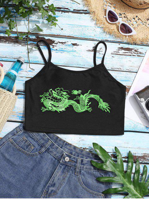 Top Cami Oriental Ajustável com Impressão de Dragão Ajustável Cortado - Verde M Mobile