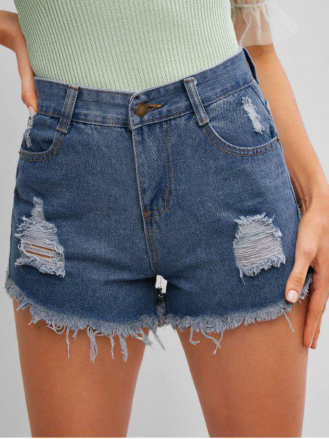 shops Frayed Hem Ripped Denim Cutoff Shorts - DENIM DARK BLUE XL Mobile
