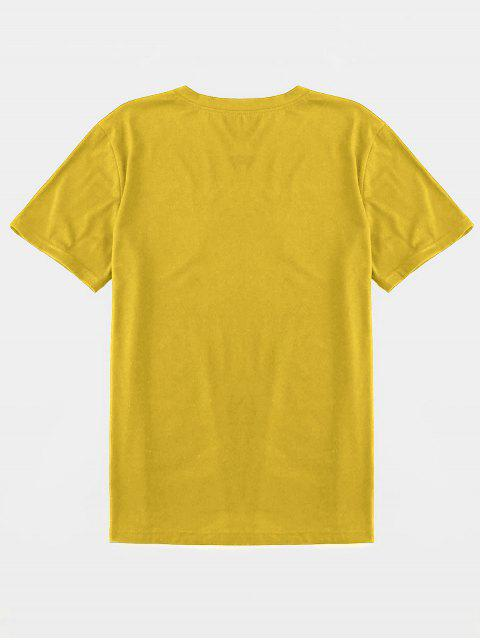 affordable ZAFUL Smoking Gesture Print Basic T-shirt - YELLOW 2XL Mobile