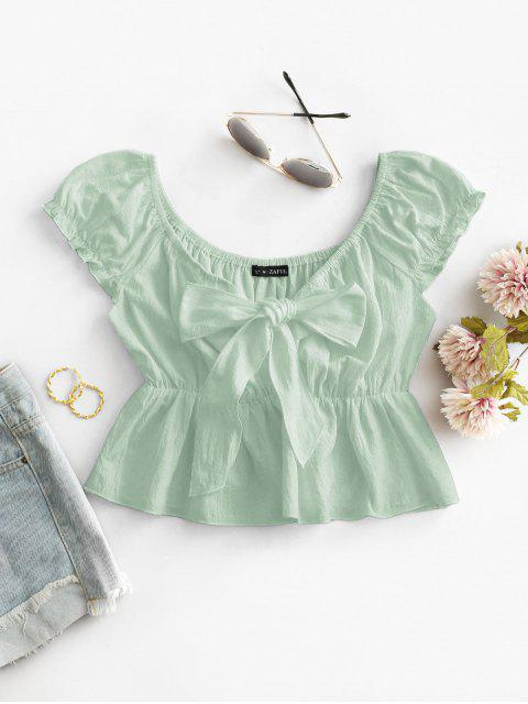 trendy ZAFUL Frilled Knotted Flounce Peplum Blouse - LIGHT GREEN S Mobile