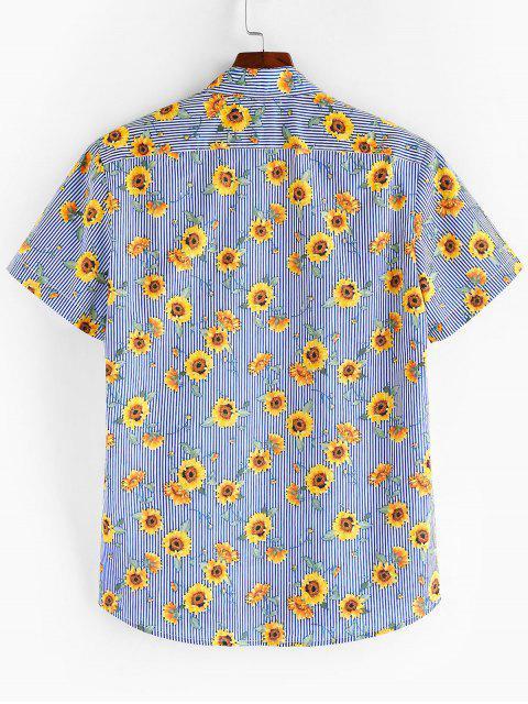 ZAFUL Camisa de Manga Corta de Botones de Patrón Floral - Azul Marino M Mobile