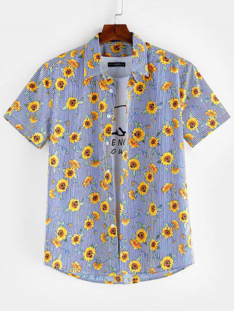 shops ZAFUL Floral Pattern Button Short Sleeves Shirt - SEA BLUE XL Mobile