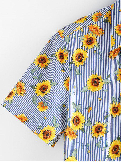 latest ZAFUL Floral Pattern Button Short Sleeves Shirt - SEA BLUE 2XL Mobile