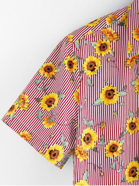 unique ZAFUL Floral Pattern Button Short Sleeves Shirt - LAVA RED 2XL Mobile