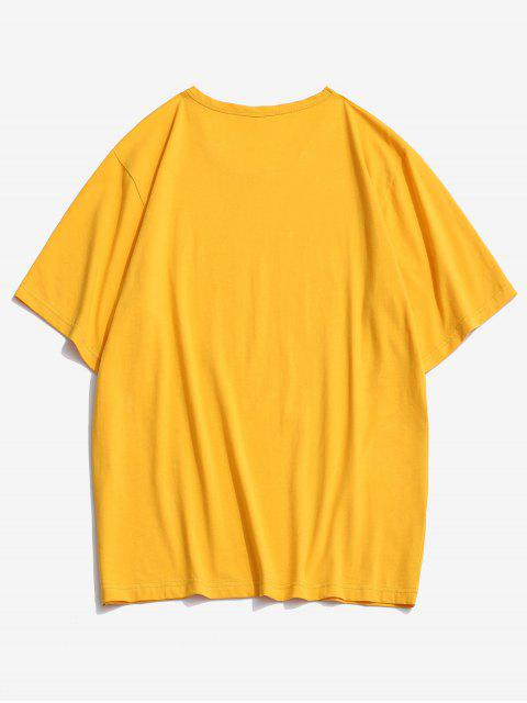 women's ZAFUL American Flag Sunflower Print T-shirt - BRIGHT YELLOW S Mobile