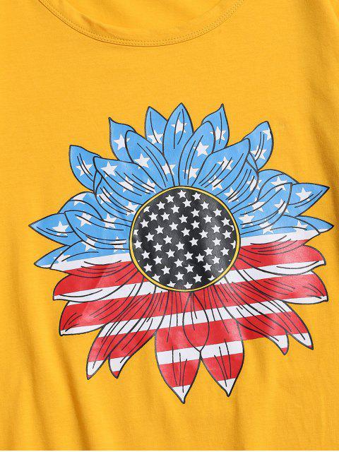 lady ZAFUL American Flag Sunflower Print T-shirt - BRIGHT YELLOW L Mobile