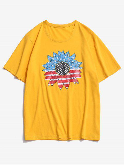 ZAFUL Camiseta con Estampado de Bandera Americana y Girasol - Amarillo Brillante XL Mobile
