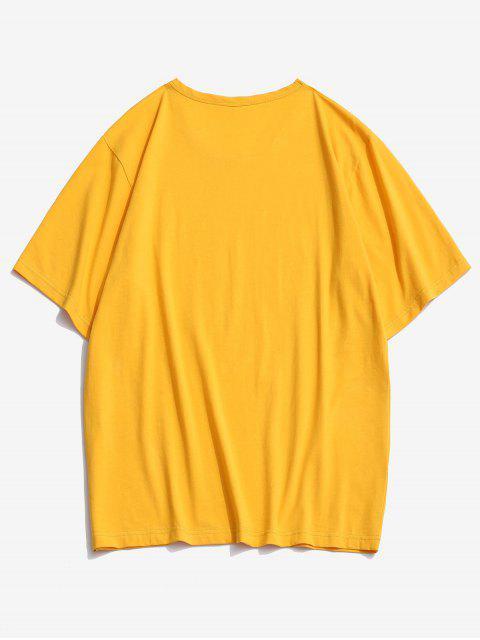 ZAFUL Camiseta con Estampado de Bandera Americana y Girasol - Amarillo Brillante 2XL Mobile