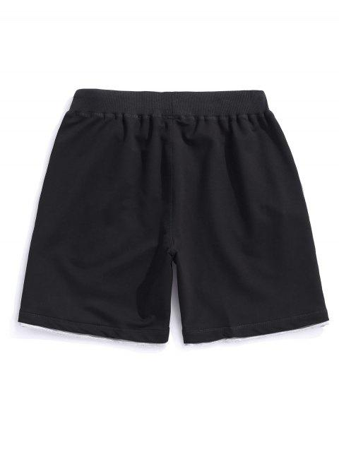 Letter Pattern Drawstring Casual Shorts - أسود XS Mobile