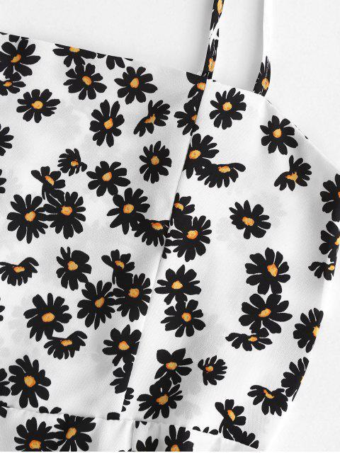 Daisy Druck A-Linie Sommerkleid - Weiß S Mobile