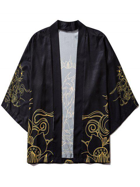 new Graphic Print Open Front Kimono Cardigan - BLACK 2XL Mobile