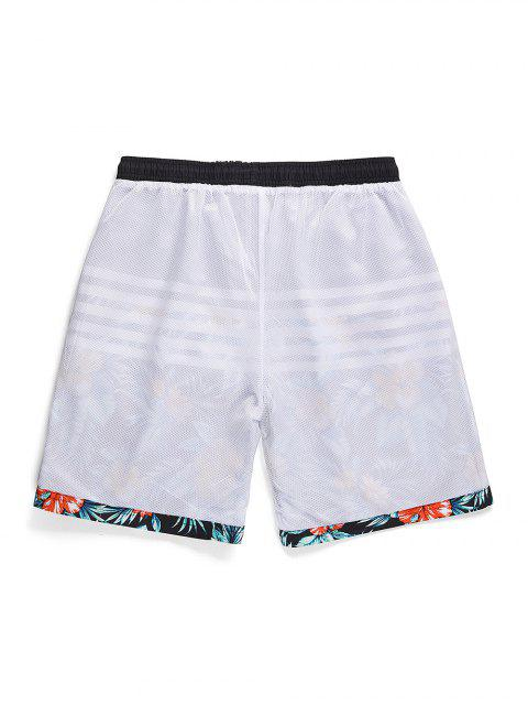 online Striped Flowers Printed Drawstring Beach Shorts - BLACK XS Mobile