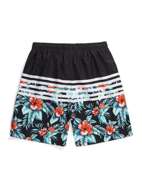 hot Striped Flowers Printed Drawstring Beach Shorts - BLACK M Mobile