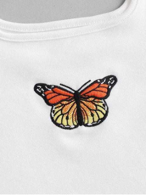 Débardeur Court Côtelé Papillon Brodé - Blanc S Mobile