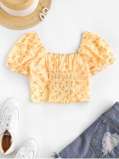 hot Printed Smocked Puff Sleeve Milkmaid Top - YELLOW M Mobile