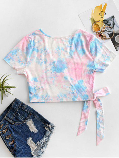T-Shirt Annodata di Tie-Dye a Costine di ZAFUL - Rosa S Mobile
