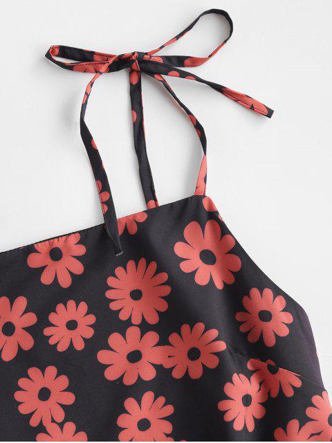 Krawatte Blumen A-Linie Sommerkleid - Schwarz M Mobile