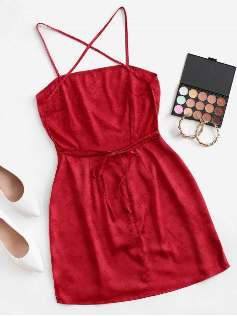 Satin Jacquard Kreuzes Rückseite Slip Rückenfreies Kleid - Rot M Mobile