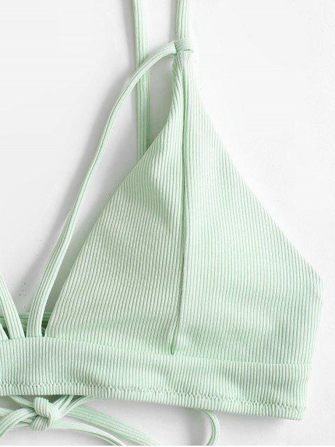 ZAFUL Gerippte Riemchen Gepolsterte Bikini Badebekleidung - Minzgrün S Mobile