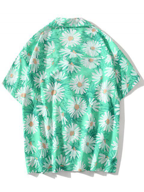 fashion Daisy Allover Print Vacation Shirt - AQUAMARINE XL Mobile