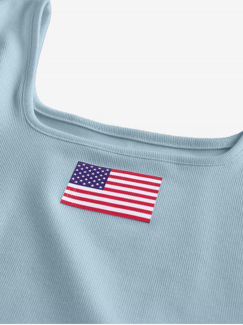ZAFUL Débardeur Court Côtelé Drapeau Américain Patriotique - Bleu-gris S Mobile