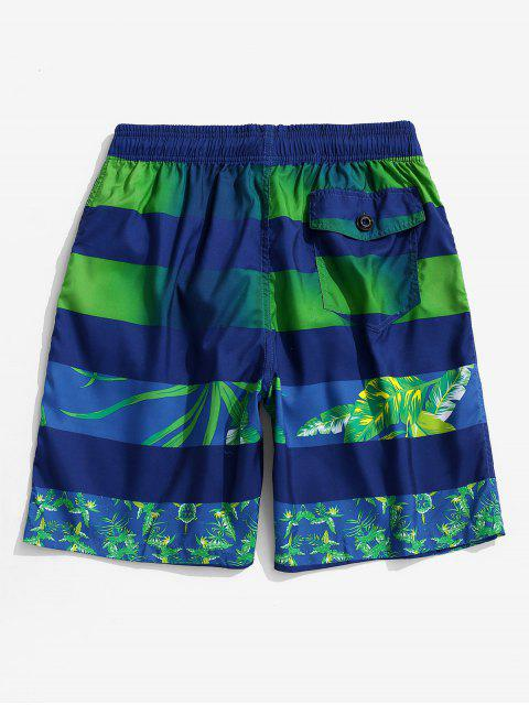 women Leaf Print Color Spliced Casual Shorts - BLUE L Mobile