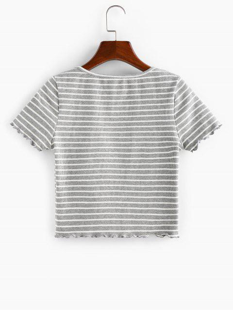 ZAFUL Geripptes T-Shirt mit V Ausschnitt - Graue Wolke S Mobile