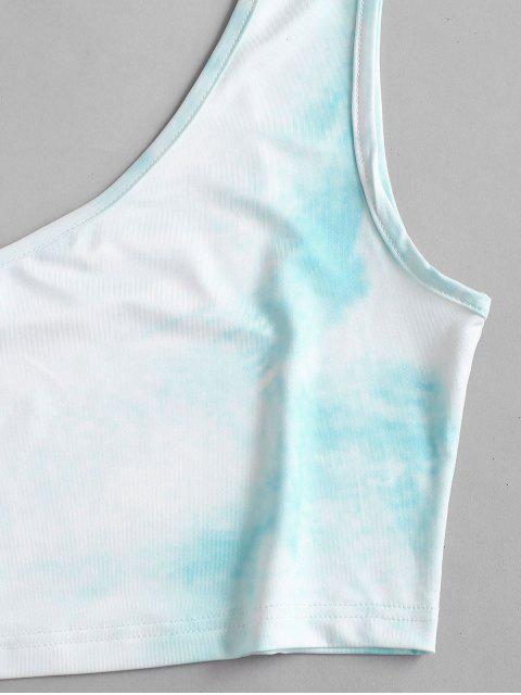 Wolken Krawattenfärbendes Rüschen Einziger Schulter Zweiteiliges Set - Leichter Schiefer XL Mobile