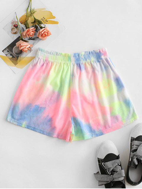 chic Tie Dye Frilled High Rise Shorts - PINK L Mobile