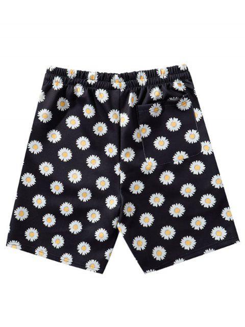 women's Daisy Print Vacation Shorts - BLACK 2XL Mobile