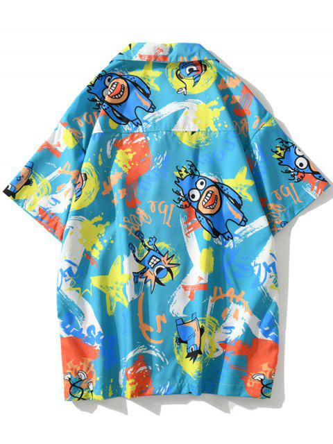 latest Cartoon Animal Graffiti Print Button Shirt - BLUE IVY 2XL Mobile