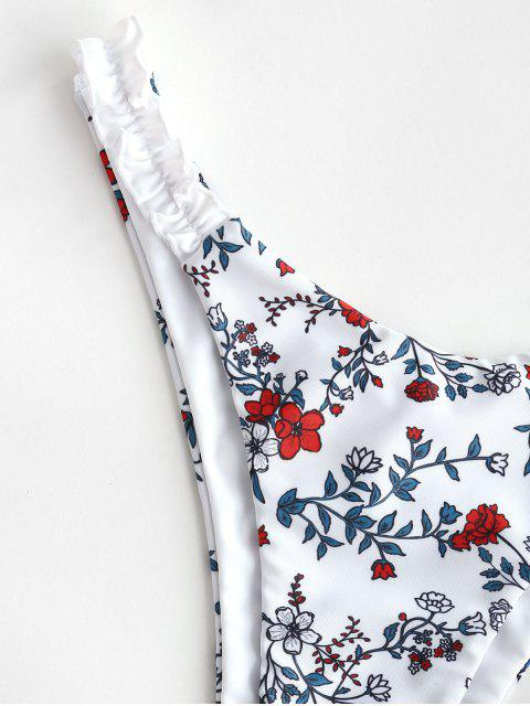 ZAFUL Blumen Hochgeschnittener Salat Scrunch Butt Bikini Unterteile - Weiß L Mobile