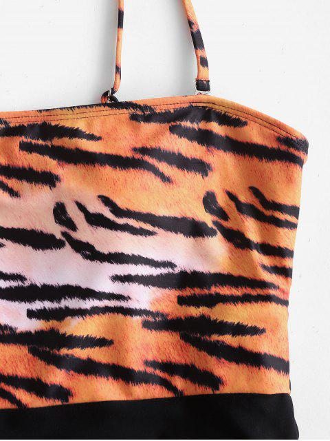 outfits ZAFUL Tiger Print Bandeau One-piece Swimsuit - TIGER ORANGE S Mobile