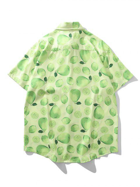 trendy Lemon And Pear Print Chest Pocket Vacation Shirt - GREEN APPLE XL Mobile