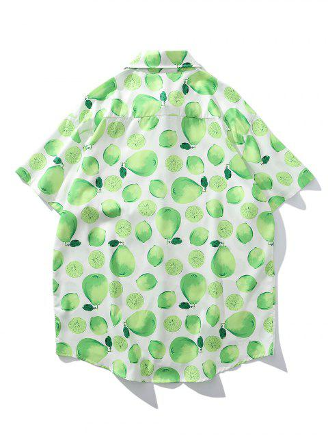 fancy Lemon And Pear Print Chest Pocket Vacation Shirt - MINT GREEN L Mobile