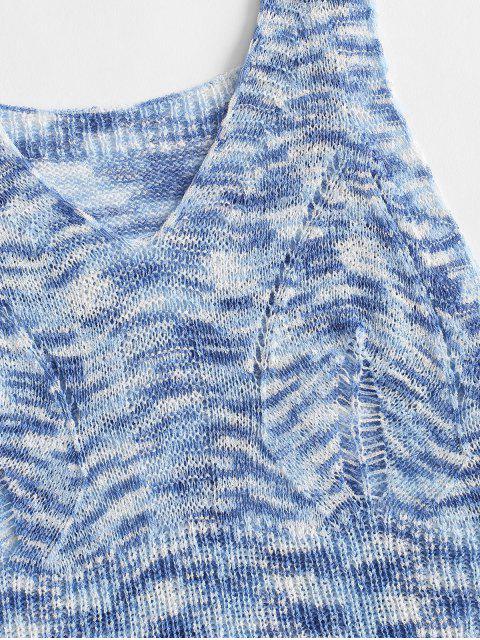 Canotta in Maglia di Tie-Dye con Scollo a V - Blu Cielo  Taglia unica Mobile