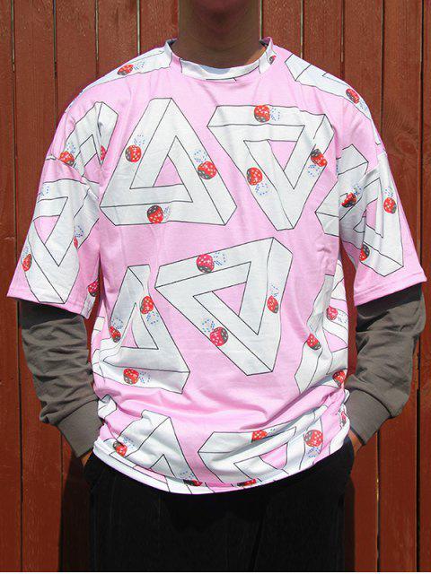 T-Shirt a Spalle Scivolate con Stampa Geometrica e Dadi - Rosa Suino XL Mobile