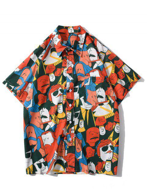 fashion Cartoon Figure Graphic Print Pocket Patch Shirt - BRIGHT ORANGE L Mobile
