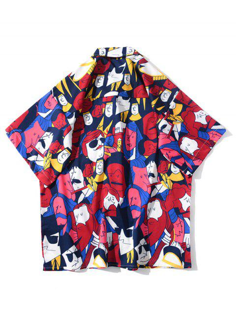 sale Cartoon Figure Graphic Print Pocket Patch Shirt - RUBY RED L Mobile