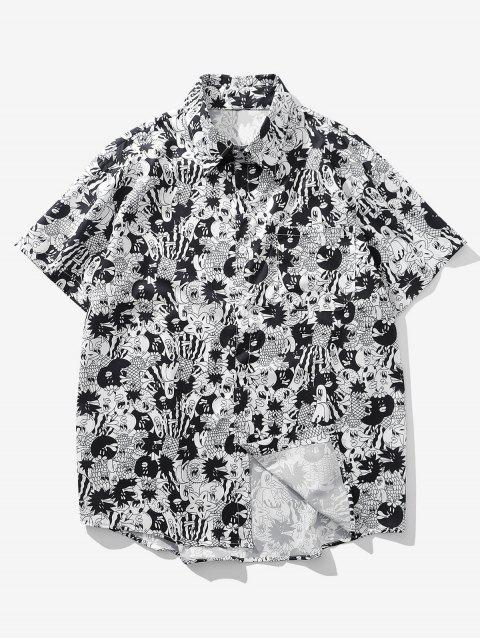new Cartoon Graphic Print Pocket Button Shirt - GRAY CLOUD 2XL Mobile